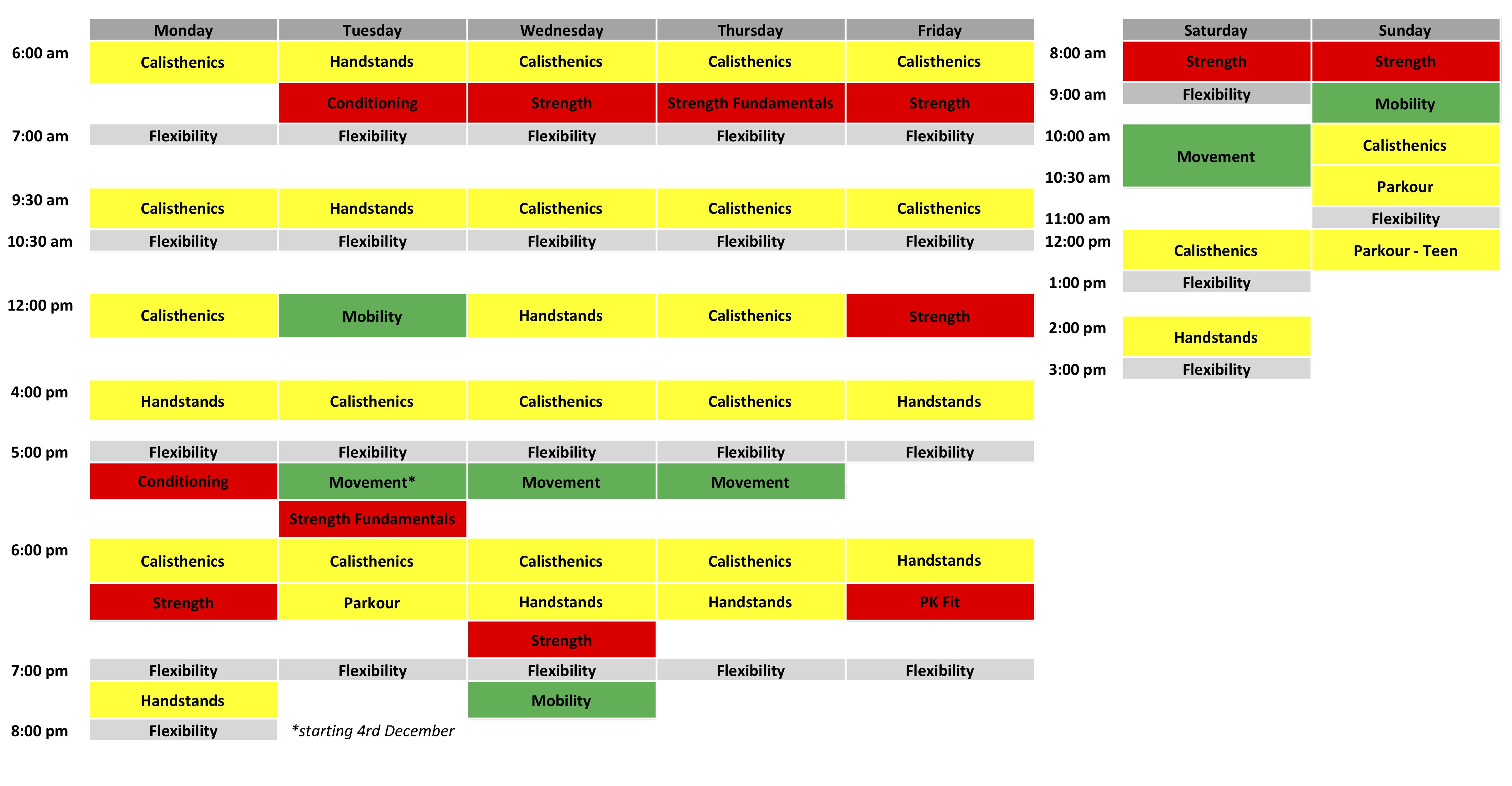 Class Schedule - December 2018