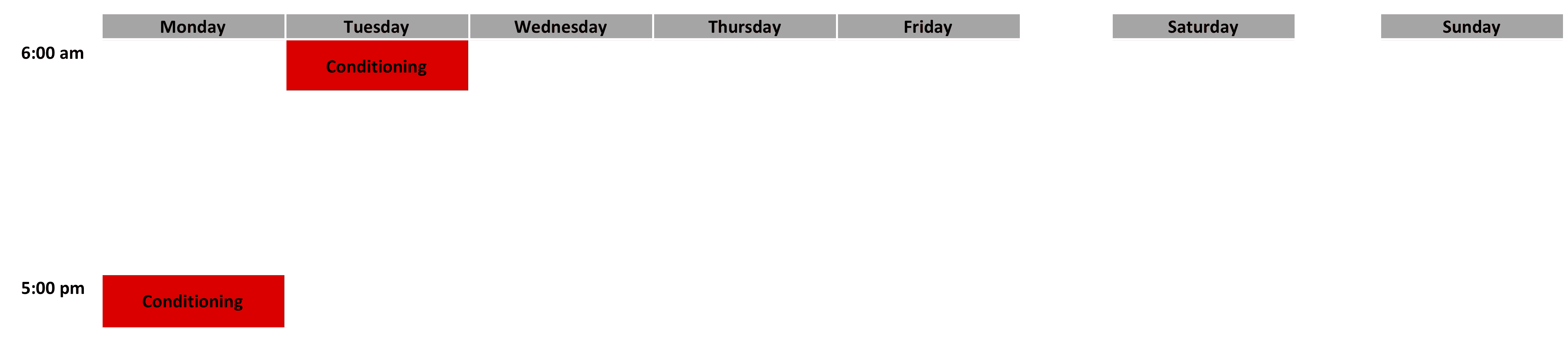 Conditioning Schedule - April 2019