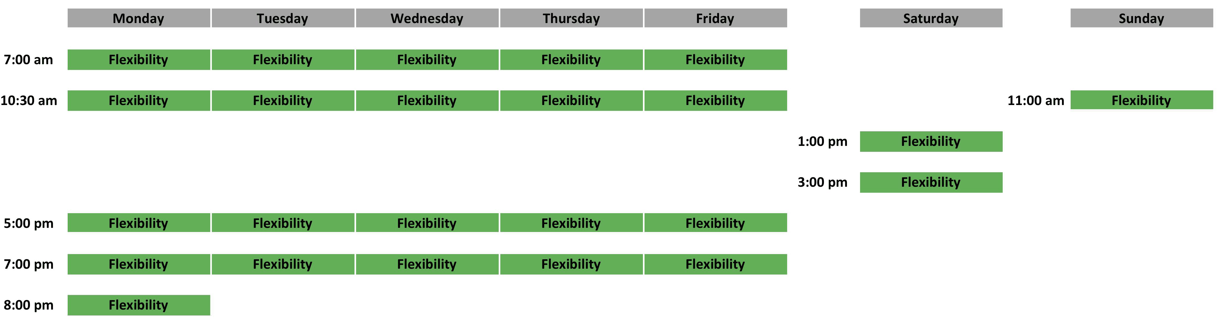 Flexibility Schedule - April 2019