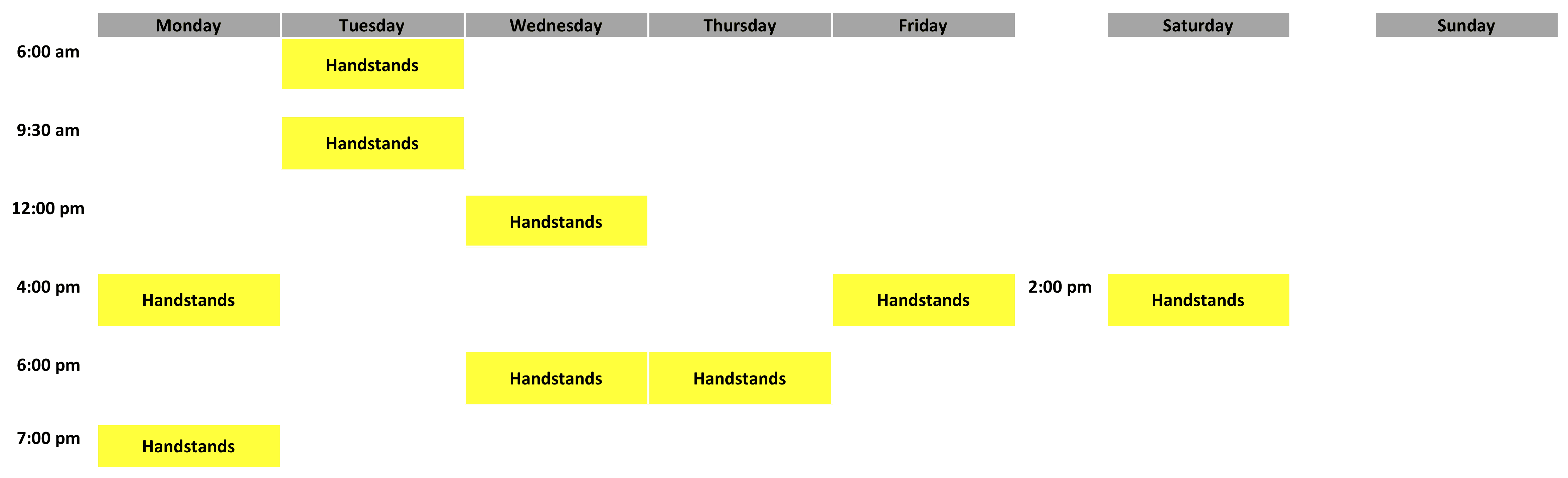 Handstands Schedule - April 2019