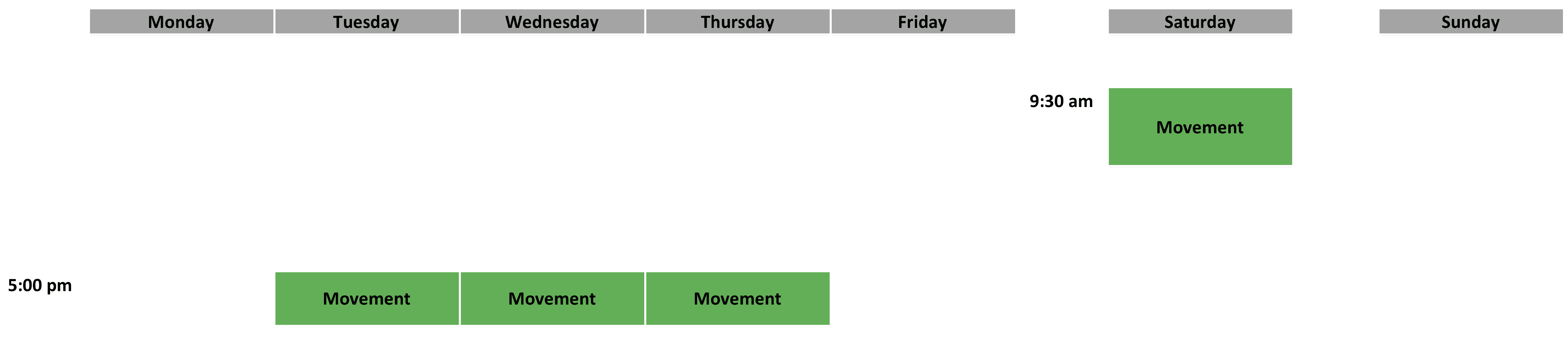 Movement Schedule - April 2019