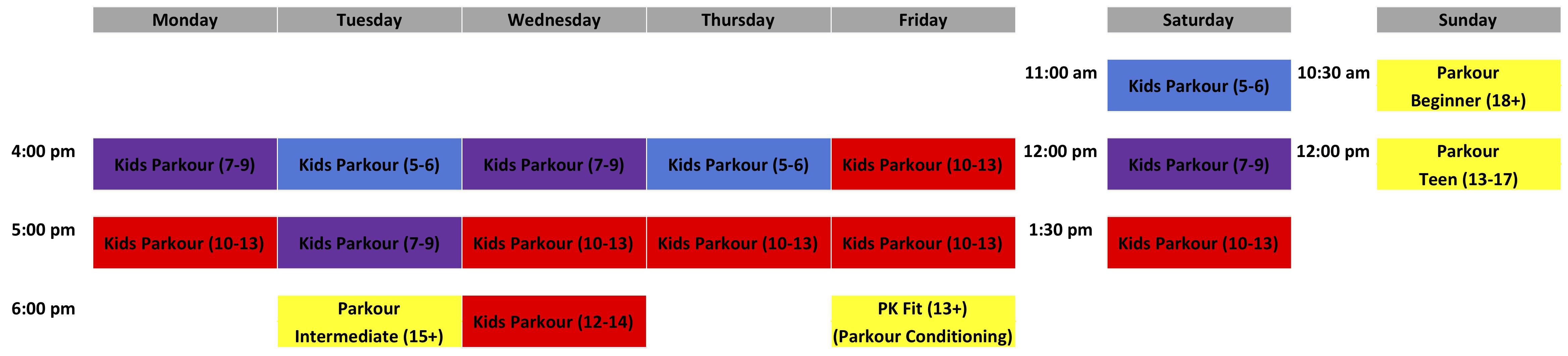 Parkour Schedule - April 2019