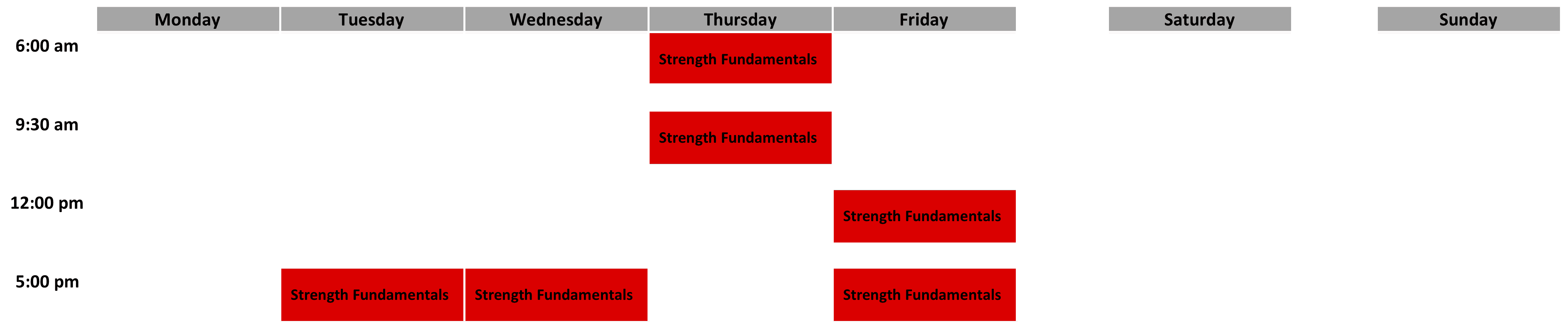 Strength Fundamentals Schedule - April 2019