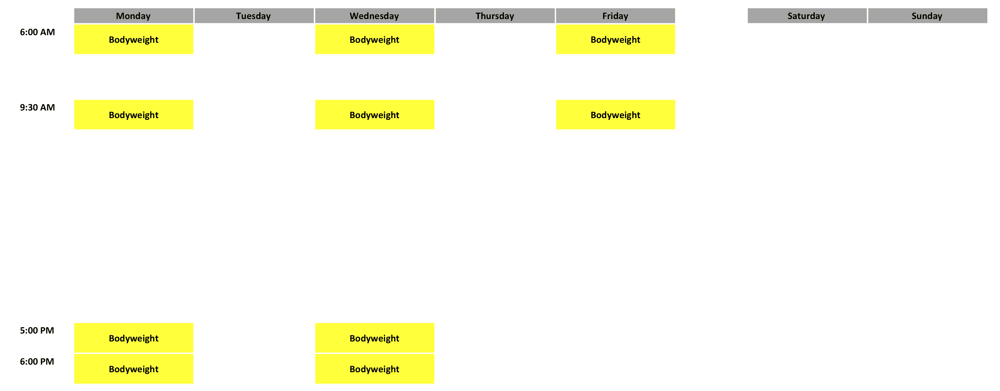 Bodyweight Schedule