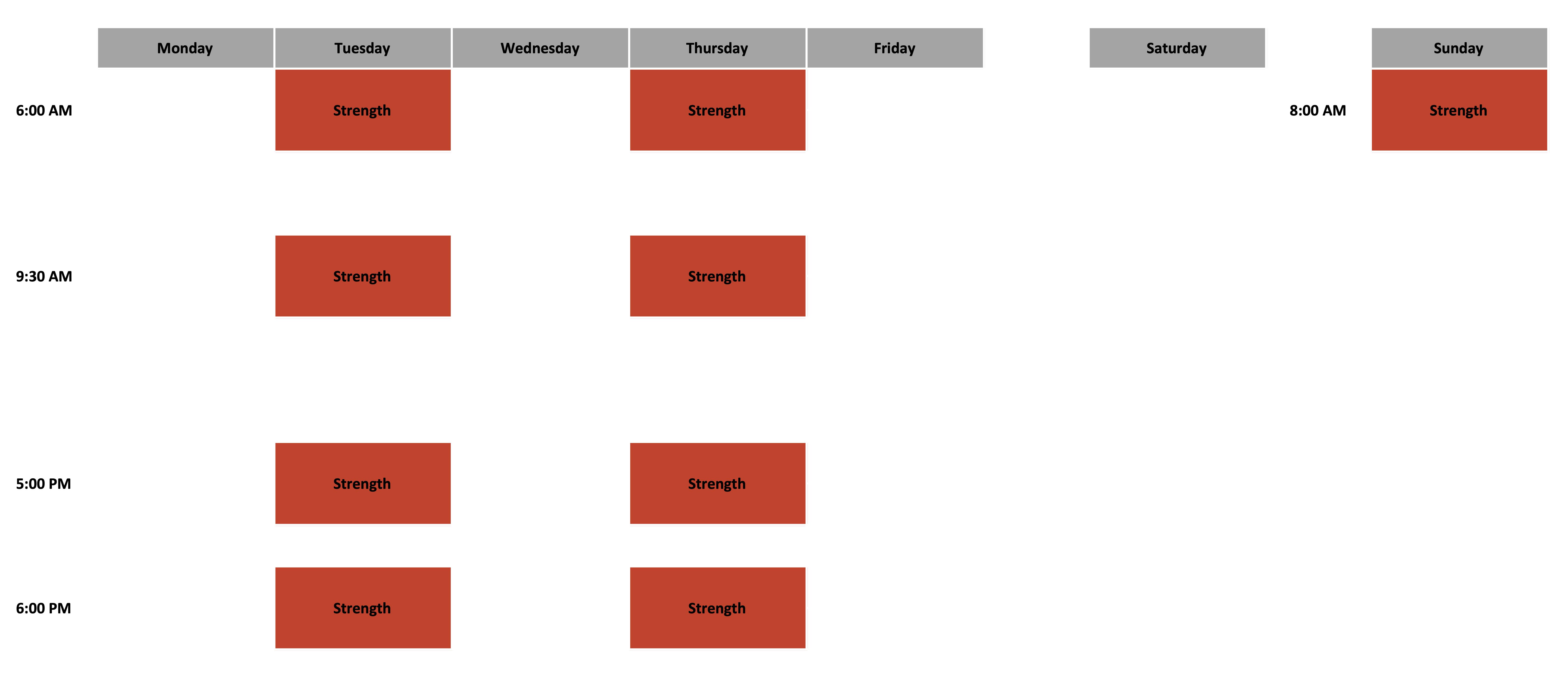 Class Schedule - October 2020 - Strength