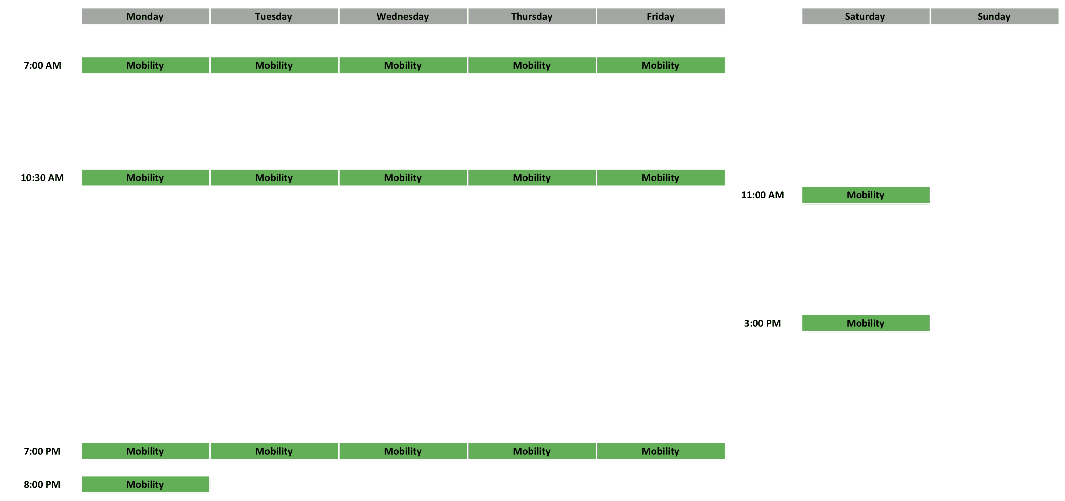 Mobility Schedule
