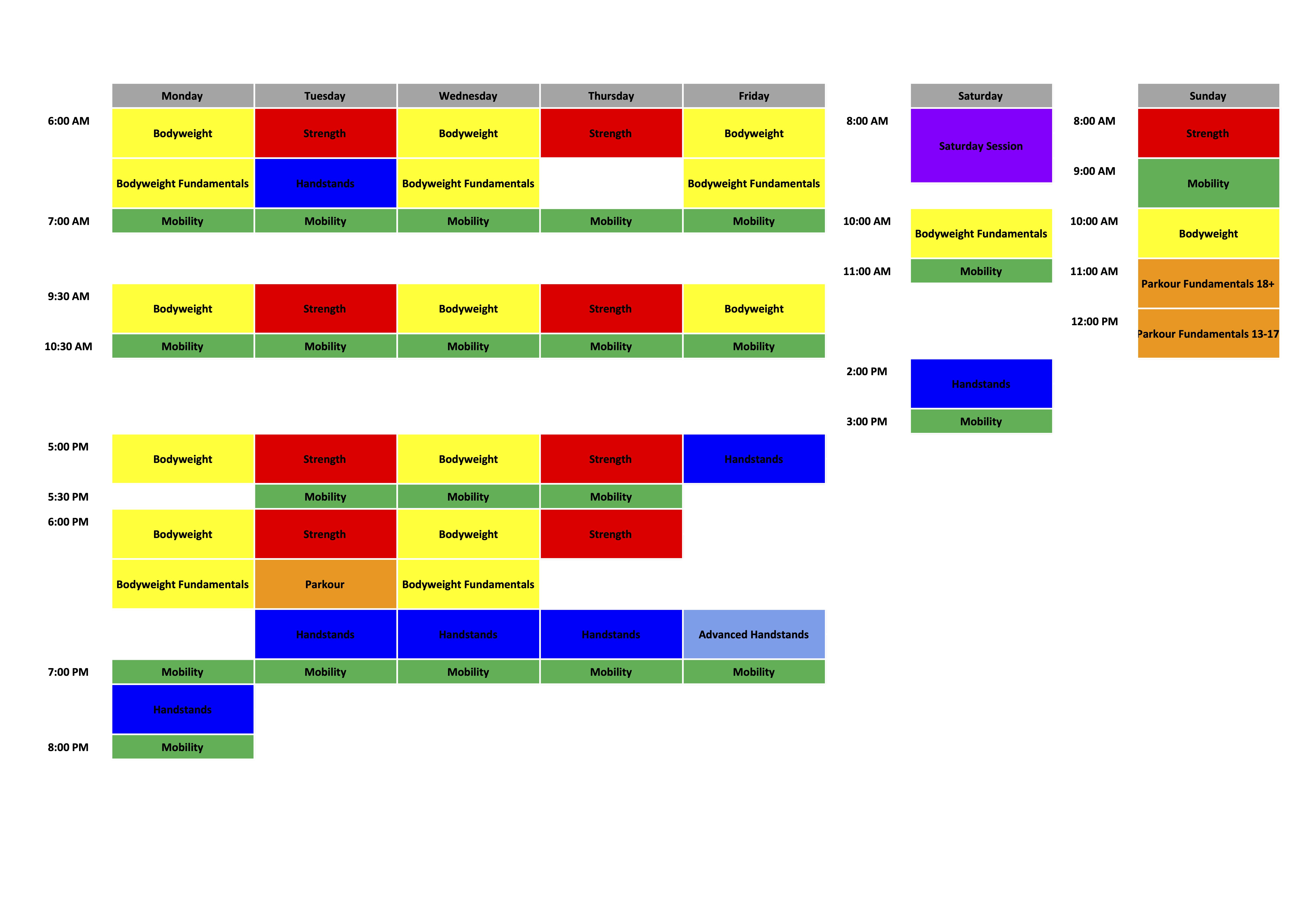 Class Schedule - March 2020