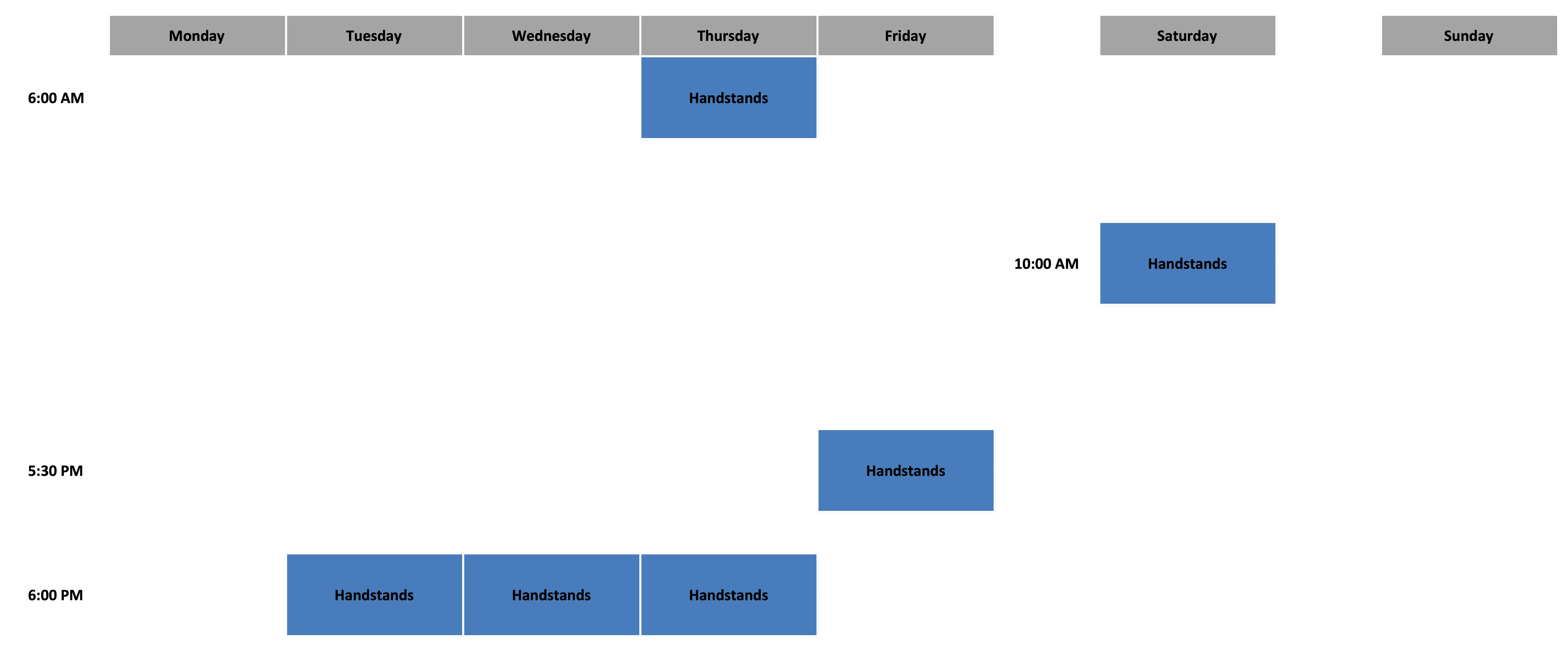 Handstands Schedule - August 2020