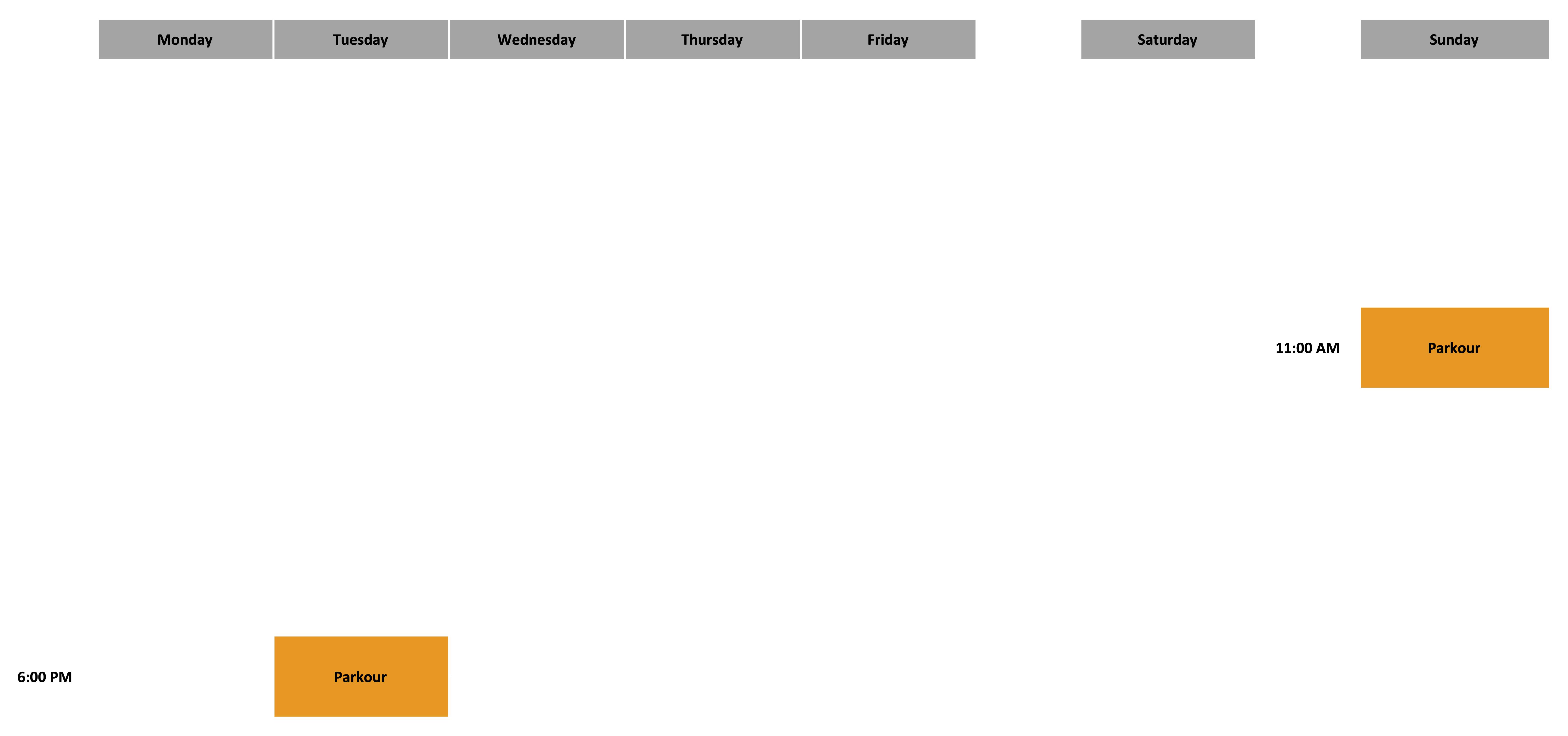 Parkour Schedule - August 2020