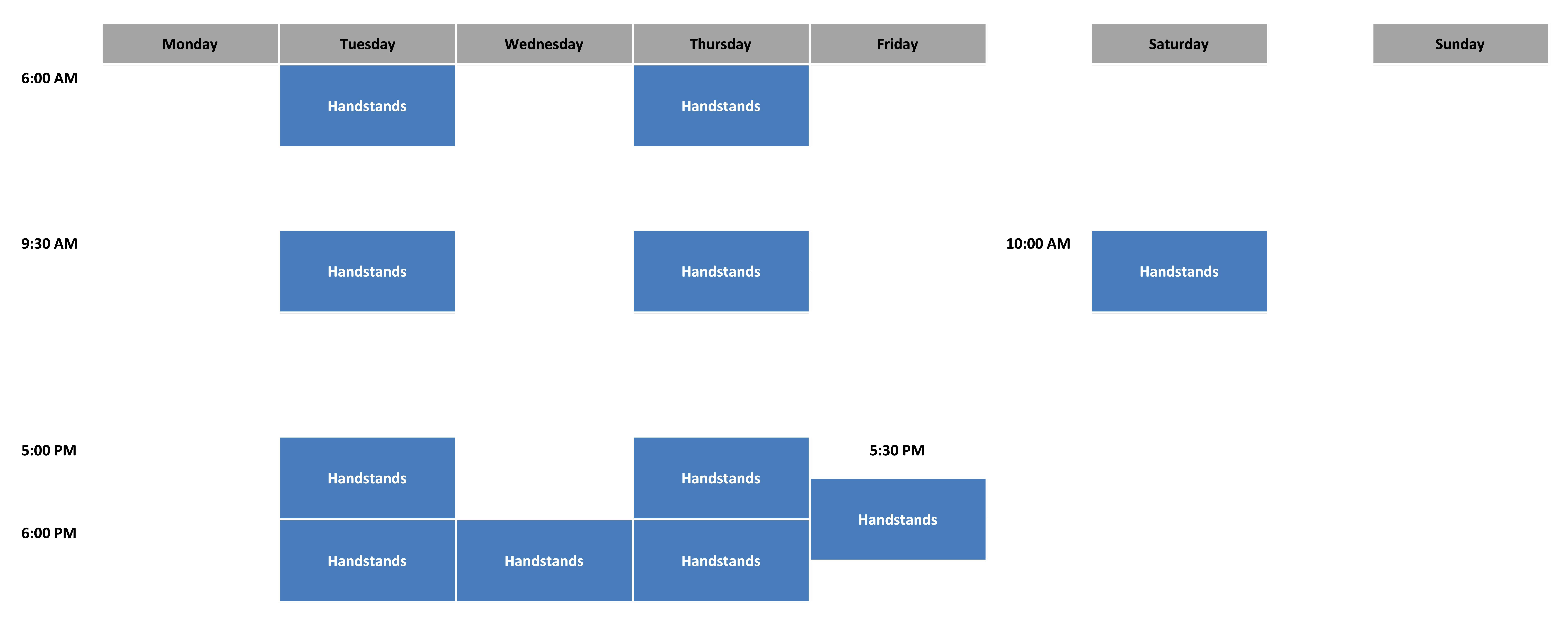 Handstands Schedule - July 2021