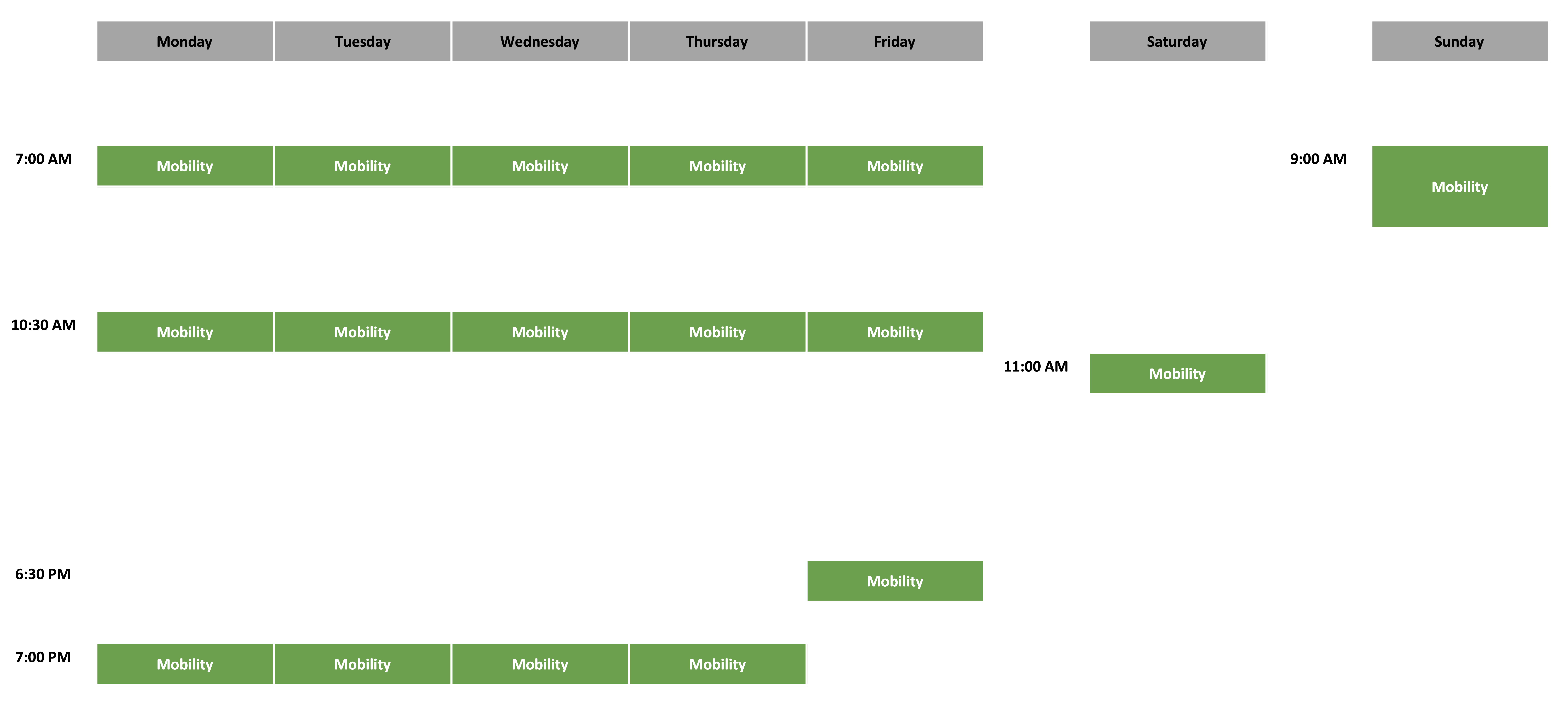 Mobility Schedule - July 2021